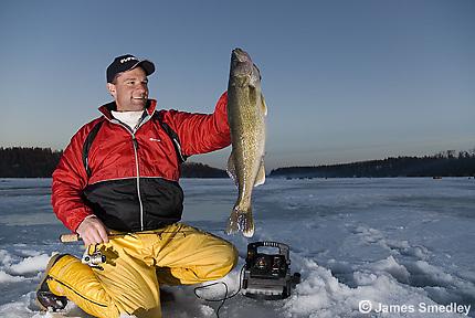 Ice fishing winter walleye