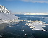 Ísafjörður, höfn. Loftmynd.Isafjordur harbour aerial.