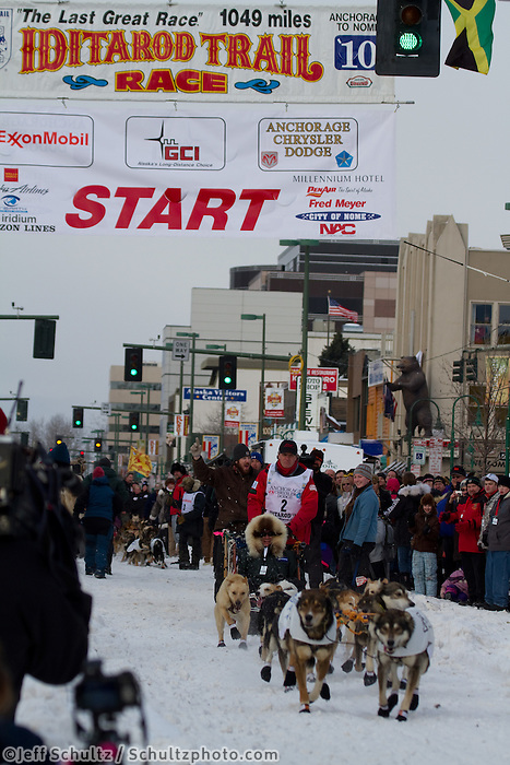 2010 Iditarod Ceremonial Start in Anchorage Alaska musher # 2 LINWOOD FIEDLER with Iditarider LEE NOWAK