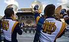 Sept 13, 2014; Drummer's Circle performance at Pan Am Plaza before the Shamrock Series football game in Indianapolis. (Photo by Barbara Johnston/University of Notre Dame