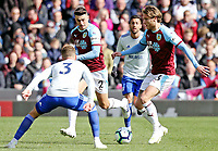 Burnley's Jeff Hendrick under pressure from Cardiff City's Joe Bennett<br /> <br /> Photographer Rich Linley/CameraSport<br /> <br /> The Premier League - Saturday 13th April 2019 - Burnley v Cardiff City - Turf Moor - Burnley<br /> <br /> World Copyright © 2019 CameraSport. All rights reserved. 43 Linden Ave. Countesthorpe. Leicester. England. LE8 5PG - Tel: +44 (0) 116 277 4147 - admin@camerasport.com - www.camerasport.com
