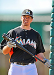 13 March 2012: Miami Marlins infielder Donnie Murphy awaits his turn in the batting cage prior to a Spring Training game against the Atlanta Braves at Roger Dean Stadium in Jupiter, Florida. The two teams battled to a 2-2 tie playing 10 innings of Grapefruit League action. Mandatory Credit: Ed Wolfstein Photo