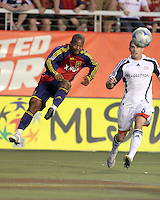 Andy Williams (l) kicks the ball in front of Jay Heaps (6) in the 1-2 RSL win at Rice Eccles Stadium in Salt Lake City, Utah on  June 21, 2008.