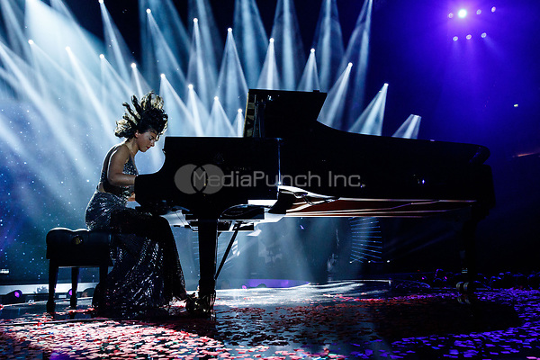 Khatia Buniatishvili performs at the first Global Citizen Festival concert in Hamburg, Germany, 6 July 2017. Photo: Sina Schuldt//dpa /MediaPunch ***FOR USA ONLY***