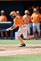 Tennessee Volunteers left fielder Jay Charleston (4) swings at a pitch during a game against the South Carolina Gamecocks at Lindsey Nelson Stadium on March 18, 2017 in Knoxville, Tennessee. The Gamecocks defeated Volunteers 6-5. (Tony Farlow/Four Seam Images)