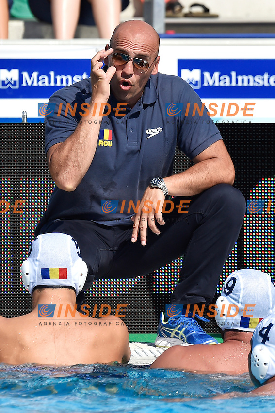 STENOJEVIC Dejan coach Romania <br /> Romania - Italy / Romania - Italia <br /> LEN European Water Polo Championships 2014<br /> Alfred Hajos -Tamas Szechy Swimming Complex<br /> Margitsziget - Margaret Island<br /> Day02 - July 15 <br /> Photo A.Staccioli/Insidefoto/