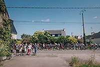yellow jersey / GC leader Greg Van Avermaet (BEL/BMC) rolling by in the peloton<br /> <br /> Stage 5: Lorient > Quimper (203km)<br /> <br /> 105th Tour de France 2018<br /> ©kramon