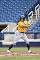 Brett Siddall (20) of the AZL Athletics bats during a game against the AZL Brewers at Maryvale Baseball Park on June 30, 2015 in Phoenix, Arizona. Brewers defeated Athletics, 4-2. (Larry Goren/Four Seam Images)