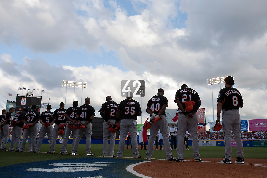 11 March 2009: Players of The Netherlands stand during the national anthem prior to the 2009 World Baseball Classic Pool D game 6 at Hiram Bithorn Stadium in San Juan, Puerto Rico. Puerto Rico wins 5-0 over the Netherlands