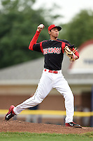 Batavia Muckdogs pitcher Jorgan Cavanerio (35) delivers a pitch during a game against the Brooklyn Cyclones on August 11, 2014 at Dwyer Stadium in Batavia, New York.  Batavia defeated Brooklyn 4-3.  (Mike Janes/Four Seam Images)