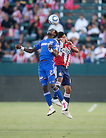 KC Wizard midfielder Kei Kamara (23) goes up high to head the ball during the second half of the game between Chivas USA and the Kansas City Wizards at the Home Depot Center in Carson, CA, on September 19, 2010. Final score Chivas USA 0, Kansas City Wizards 2.