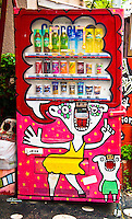 Vending machine becomes canvas for art work outside Design Festa Gallery in Tokyo`s trendy Harajuku.