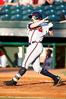 Mississippi Braves Sal Giardina (24) at bat during a game against the Chattanooga Lookouts on August 04, 2018 at AT&T Field in Chattanooga, Tennessee. (Andy Mitchell/Four Seam Images)