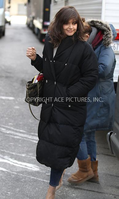 WWW.ACEPIXS.COM<br /> <br /> March 27 2014, New York City<br /> <br /> Actress Katie Holmes on the set of the television pilot 'Dangerous Liaisons' on the Upper West Side of Manhattan on March 27, 2014 in New York City.<br /> <br /> Byline: Zelig Shaul/ACE Pictures<br />  <br /> Ace Pictures, Inc:  <br /> tel: (646) 769 0430<br /> e-mail: info@acepixs.com<br /> web: http://www.acepixs.com