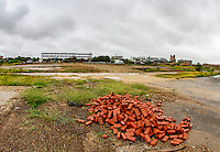 Washington D.C. - October 1, 2016: Old intersection of Half and T sts. with Nationals Park in the background. Buzzards Point area in Southwest Washington D.C. cleared for construction of the new soccer stadium for D.C. United scheduled to open in 2018.