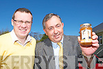 Fianna Fail councillors Tom Doherty and Paul O'Donoghue who are giving out jam and chocolates to voters whilst canvassing