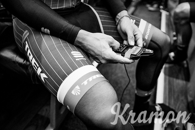 Fabio Felline (ITA/Trek-Segafredo) checking his race radio ahead of the race<br /> <br /> 103rd Li&egrave;ge-Bastogne-Li&egrave;ge 2017 (1.UWT)<br /> One Day Race: Li&egrave;ge &rsaquo; Ans (258km)