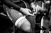 Fabio Felline (ITA/Trek-Segafredo) checking his race radio ahead of the race<br /> <br /> 103rd Liège-Bastogne-Liège 2017 (1.UWT)<br /> One Day Race: Liège › Ans (258km)