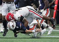 Atlanta, GA - December 2, 2017: The number 6 ranked Georgia Bulldogs face the number 2 ranked Auburn Tigers at Mercedes Benz Stadium in the SEC Championship Game.  Final score Georgia 28, Auburn 7.