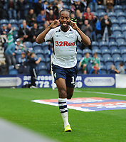 Preston North End's Daniel Johnson celebrates scoring his side's third goal <br /> <br /> Photographer Kevin Barnes/CameraSport<br /> <br /> The EFL Sky Bet Championship - Preston North End v Barnsley - Saturday 5th October 2019 - Deepdale Stadium - Preston<br /> <br /> World Copyright © 2019 CameraSport. All rights reserved. 43 Linden Ave. Countesthorpe. Leicester. England. LE8 5PG - Tel: +44 (0) 116 277 4147 - admin@camerasport.com - www.camerasport.com