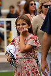 DEL MAR, CA  SEPTEMBER 3: Maddie Stevens, daugh the paddock before the Del tee of jockey Gary Stevens makes faces in the paddock before the DelMar Juvenile Fillies Turf on September 3, 2018, at Del Mar Thoroughbred Club in Del Mar, CA. (Photo by Casey Phillips/Eclipse Sportswire/Getty ImagesGetty Images
