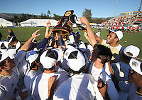 Players of the University of Akron after the 2010 College Cup final against the University of Louisville at Harder Stadium, on December 12 2010, in Santa Barbara, California.Akron champions, 1-0.