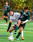WATERBURY,  CT-101619JS18-  Sacred Heart's Leandro Fernandes (5) and Wilby's Nilton Miguel (11) fight for the ball during their NVL game Thursday at Municipal Stadium in Waterbury. <br />  Jim Shannon Republican-American