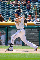 Josh Rutledge (8) of the Salt Lake Bees at bat against the Fresno Grizzlies in Pacific Coast League action at Smith's Ballpark on June 14, 2015 in Salt Lake City, Utah.  (Stephen Smith/Four Seam Images)