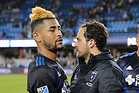 San Jose, CA - Saturday May 06, 2017: Anibal Godoy, Marco Ureña after a Major League Soccer (MLS) match between the San Jose Earthquakes and the Portland Timbers at Avaya Stadium.