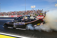 Mar 28, 2014; Las Vegas, NV, USA; NHRA funny car driver Alexis DeJoria during qualifying for the Summitracing.com Nationals at The Strip at Las Vegas Motor Speedway. Mandatory Credit: Mark J. Rebilas-