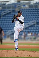 Biloxi Shuckers relief pitcher Devin Williams (14) during a Southern League game against the Montgomery Biscuits on May 8, 2019 at MGM Park in Biloxi, Mississippi.  Biloxi defeated Montgomery 4-2.  (Mike Janes/Four Seam Images)
