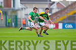 Alan Fitzgerald contests with Limerick's Mike Fitzgerald in the Munster Junior Championship Semi final held in the Gaelic Grounds last Saturday..