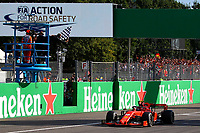 Charles Leclerc of Scuderia Ferrari cross the finish line winning the Italian GP of Monza <br /> Monza 08/09/2019 GP Italia <br /> Formula 1 Championship 2019 <br /> Photo Federico Basile / Insidefoto