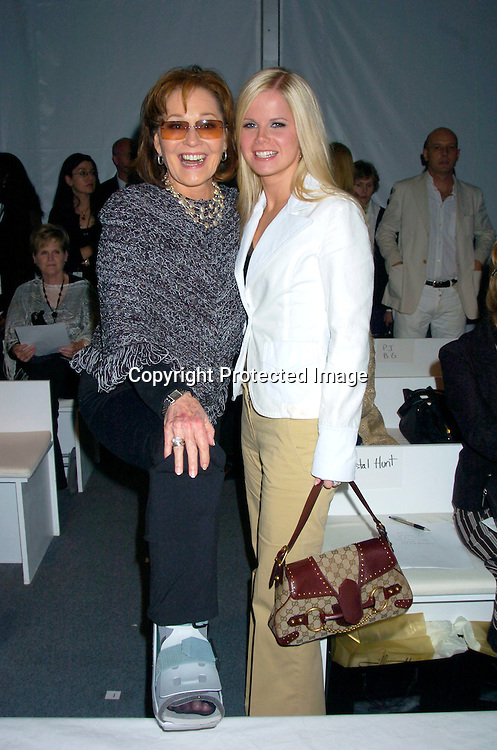 Marj Dusay and Crystal Hunt..at The Pamella Roland Spring 2005 Fashion Show on ..September 13, 2004 at the Tents. ..Photo by Robin Platzer, Twin Images