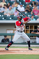 Cedric Hunter (27) of the Gwinnett Braves at bat against the Charlotte Knights at BB&T BallPark on August 11, 2015 in Charlotte, North Carolina.  The Knights defeated the Braves 3-2.  (Brian Westerholt/Four Seam Images)