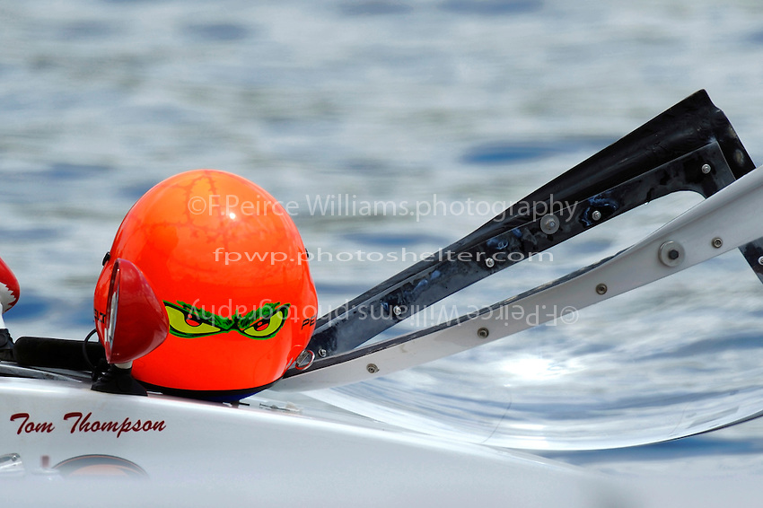 """The helmet of Tom Thompson, A-52 """"Fat Chance Too""""  (2.5 MOD class hydroplane(s)"""