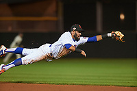 Scottsdale Scorpions second baseman Luis Guillorme (13), of the New York Mets organization, makes a diving play during an Arizona Fall League game against the Mesa Solar Sox on October 23, 2017 at Scottsdale Stadium in Scottsdale, Arizona. The Solar Sox defeated the Scorpions 5-2. (Zachary Lucy/Four Seam Images)