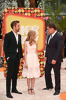 Ryan Goslin, Angourie Rice and Russell Crowe at the premiere of &quot;The Nice Guys&quot; at the Odeon Leicester Square, London.<br /> May 19, 2016  London, UK<br /> Picture: Steve Vas / Featureflash