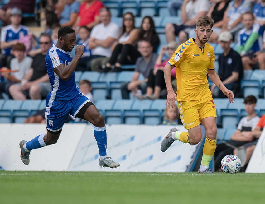 Bolton Wanderers' Jordan Boon (right) under pressure from Gillingham's Brandon Hanlan (left) <br /> <br /> Photographer David Horton/CameraSport<br /> <br /> The EFL Sky Bet League One - Gillingham v Bolton Wanderers - Saturday 31st August 2019 - Priestfield Stadium - Gillingham<br /> <br /> World Copyright © 2019 CameraSport. All rights reserved. 43 Linden Ave. Countesthorpe. Leicester. England. LE8 5PG - Tel: +44 (0) 116 277 4147 - admin@camerasport.com - www.camerasport.com