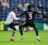 Preston North End's Darnell Fisher vies for possession with Reading's Andy Yiadom<br /> <br /> Photographer Chris Vaughan/CameraSport<br /> <br /> The EFL Sky Bet Championship - Preston North End v Reading - Saturday 15th September 2018 - Deepdale - Preston<br /> <br /> World Copyright &copy; 2018 CameraSport. All rights reserved. 43 Linden Ave. Countesthorpe. Leicester. England. LE8 5PG - Tel: +44 (0) 116 277 4147 - admin@camerasport.com - www.camerasport.com