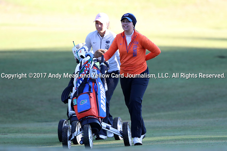 WILMINGTON, NC - OCTOBER 27: Florida's Carlotta Ricolfi (ITA) on the 11th hole. The first round of the Landfall Tradition Women's Golf Tournament was held on October 27, 2017 at the Pete Dye Course at the Country Club of Landfall in Wilmington, NC.