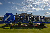 The Zurich signage is backlit as a beautiful day is in store for Round 2 of the Zurich Classic of New Orl, TPC Louisiana, Avondale, Louisiana, USA. 4/27/2018.<br /> Picture: Golffile | Ken Murray<br /> <br /> <br /> All photo usage must carry mandatory copyright credit (&copy; Golffile | Ken Murray)
