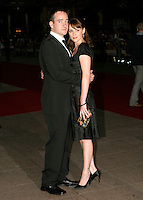 MATTHEW MacFADYEN & KEELEY HAWES.Pride & Prejudice - UK film premiere, Odeon Leicester Square, London..September 5th, 2005.full length black dress black suit clutch purse.www.capitalpictures.com.sales@capitalpictures.com.© Capital Pictures.