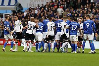 A fights breaks out after a challenge between Ben Cabango of Swansea City and Robert Glatzel of Cardiff City during the Sky Bet Championship match between Cardiff City and Swansea City at the Cardiff City Stadium, Cardiff, Wales, UK. Sunday 12 January 2020