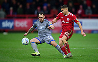 Lincoln City's Neal Eardley vies for possession with Accrington Stanley's Dion Charles<br /> <br /> Photographer Andrew Vaughan/CameraSport<br /> <br /> The EFL Sky Bet League One - Accrington Stanley v Lincoln City - Saturday 15th February 2020 - Crown Ground - Accrington<br /> <br /> World Copyright © 2020 CameraSport. All rights reserved. 43 Linden Ave. Countesthorpe. Leicester. England. LE8 5PG - Tel: +44 (0) 116 277 4147 - admin@camerasport.com - www.camerasport.com