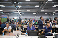 MOSCOW, RUSSIA - June 16, 2018: The crowded working conditions inside the media center at Spartak stadium before the Iceland vs. Argentina game at the 2018 FIFA World Cup.