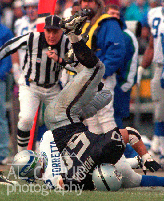 Oakland Raiders vs. Seattle Seahawks at Oakland Alameda County Coliseum Sunday, December 22, 1996.  Seahawks beat Raiders  28-21.  Oakland Raiders linebacker Mike Morton (50) end up-side down after sacking Seattle Seahawks quarterback Gino Torretta (13).