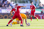Jamie Maclaren of Australia (R) fights for the ball with Musab Battat of Palestine (L) during the AFC Asian Cup UAE 2019 Group B match between Palestine (PLE) and Australia (AUS) at Rashid Stadium on 11 January 2019 in Dubai, United Arab Emirates. Photo by Marcio Rodrigo Machado / Power Sport Images