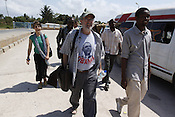 "Director Joseph Megel and artist Marie Garlock travel with filmmaker Robert Hizza, Rapper Sajo Israel and Writer Abdul Mursaly to rehearsal for ""It is In You"" in Bagamoyo, Tanzania. **(ID people L-R: Marie Garlock, Robert Hizza, Joseph Megel, Sajo Israel, Abdul Mursaly)**..Developed by Garlock and Megel in the inaugural Process Series, the piece traveled to Tanzania this fall, performed for and with the artists and health educators who first inspired it."