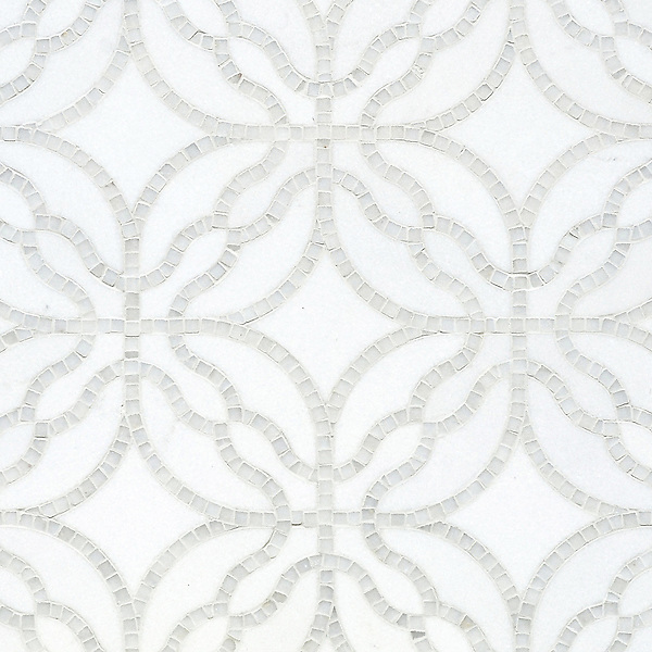 Claudette, a handmade mosaic shown in polished Afyon White and honed Thassos. Designed by Sara Baldwin Designs for New Ravenna.<br />